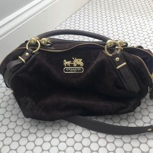 Brown suede Coach purse